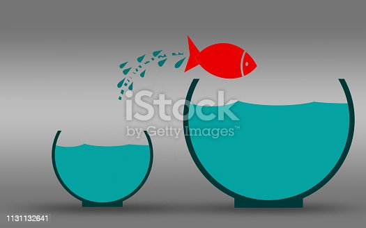 istock Fish jumping out of the water, improvement concept 1131132641