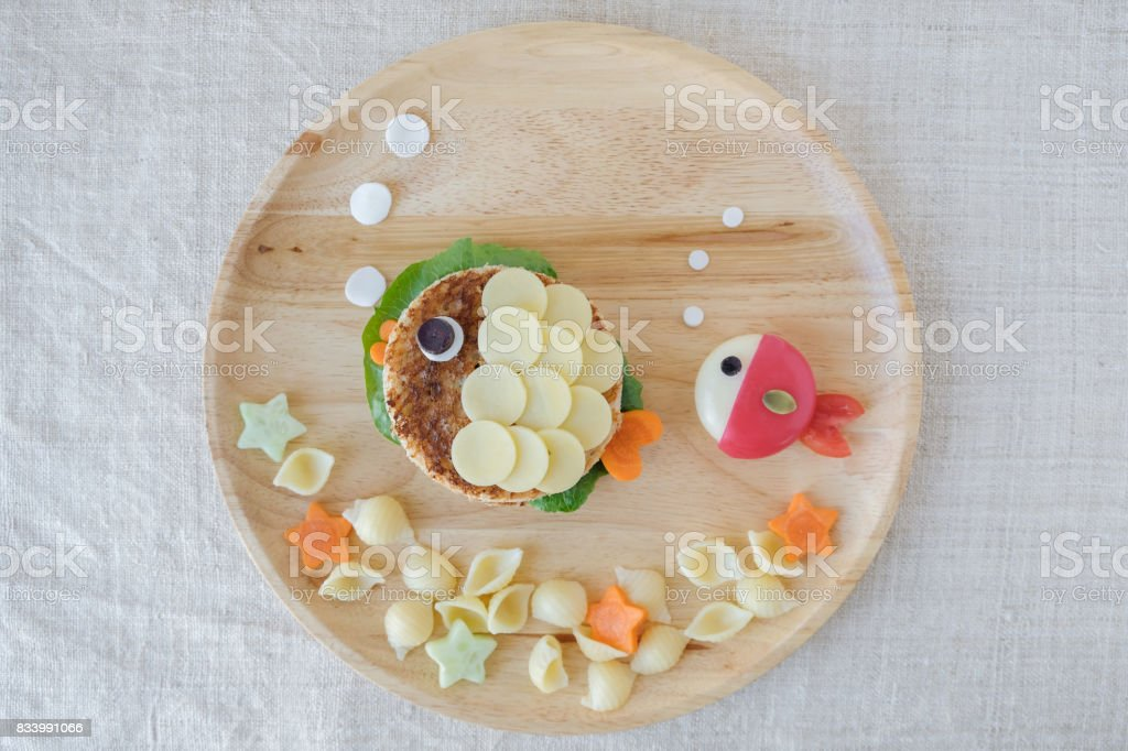 Fish lunch plate, fun food art for kids