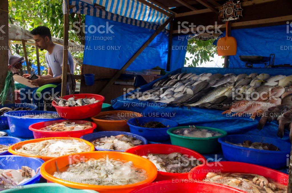 Fish market in Kochi, India. stock photo