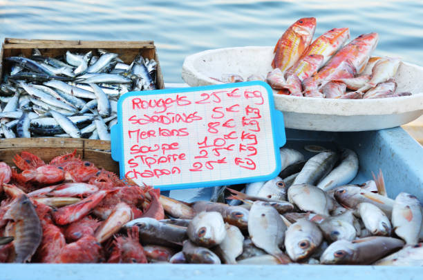 Fish market in Marseille, France stock photo