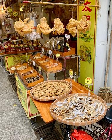Tai O, Hong Kong - January 18, 2020: The dried seafood is waiting for customers at Tai O seafood market.