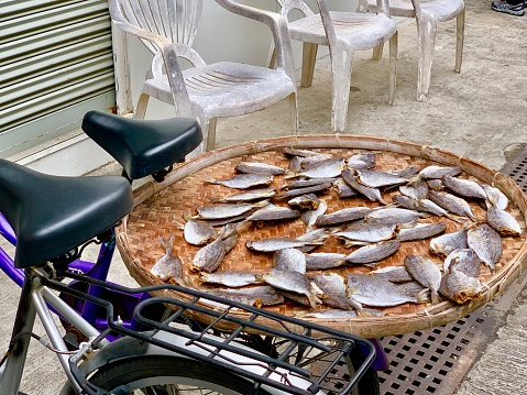 Tai O, Hong Kong - January 18, 2020: The dried fish is waiting for customers at Tai O seafood market.