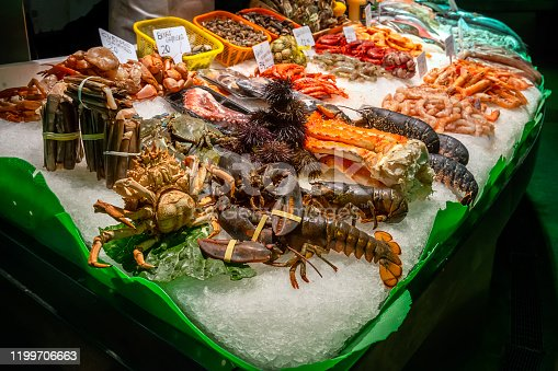 Fresh seafoods for sale in the La Boqueria Market, Barcelona