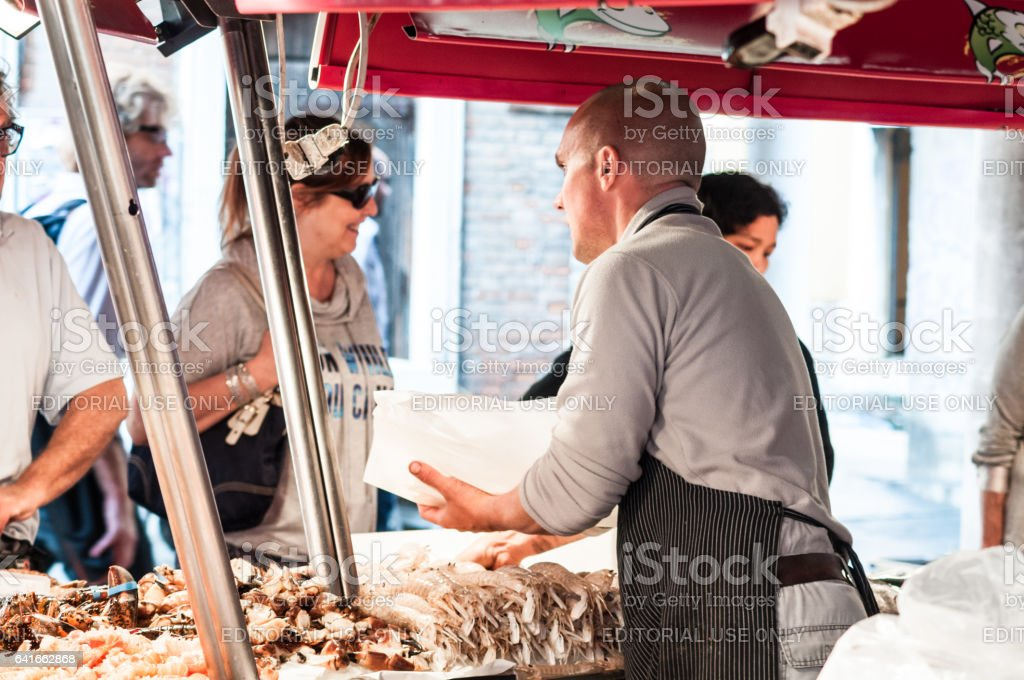 Fish market in Venice, Italy stock photo
