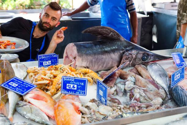 Fish Market, Sanary-sur-Mer, Provence, France stock photo