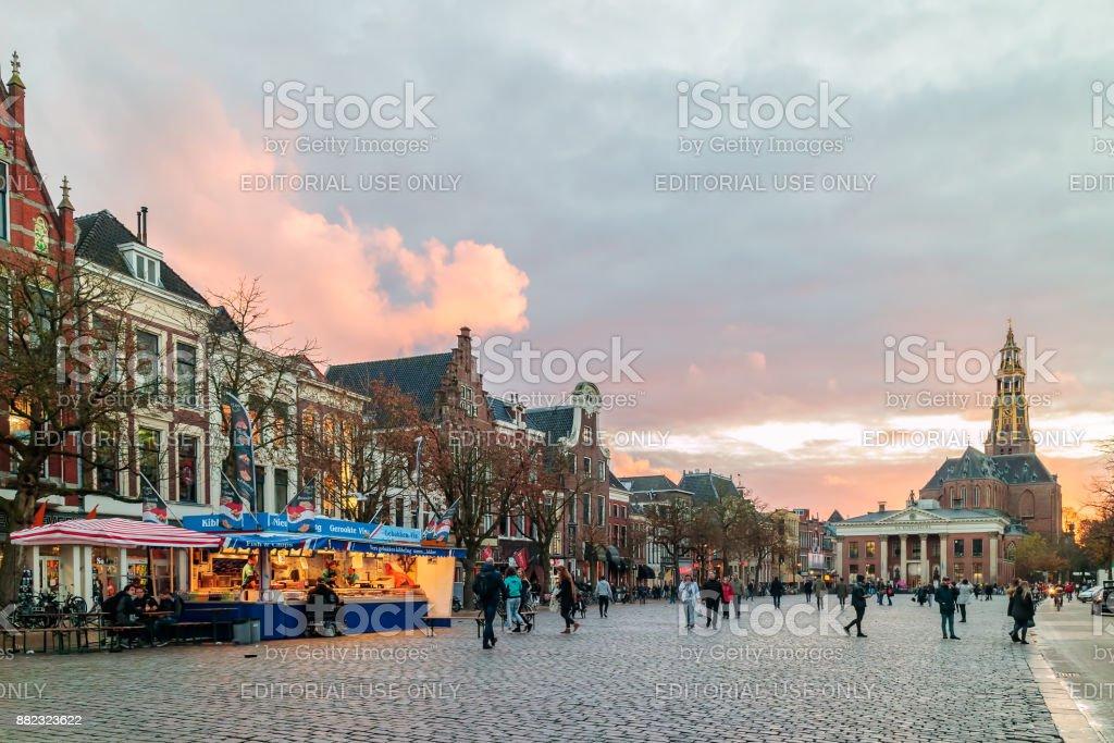 Fish market stall on the Dutch Vismarkt square during sunset in Groningen stock photo