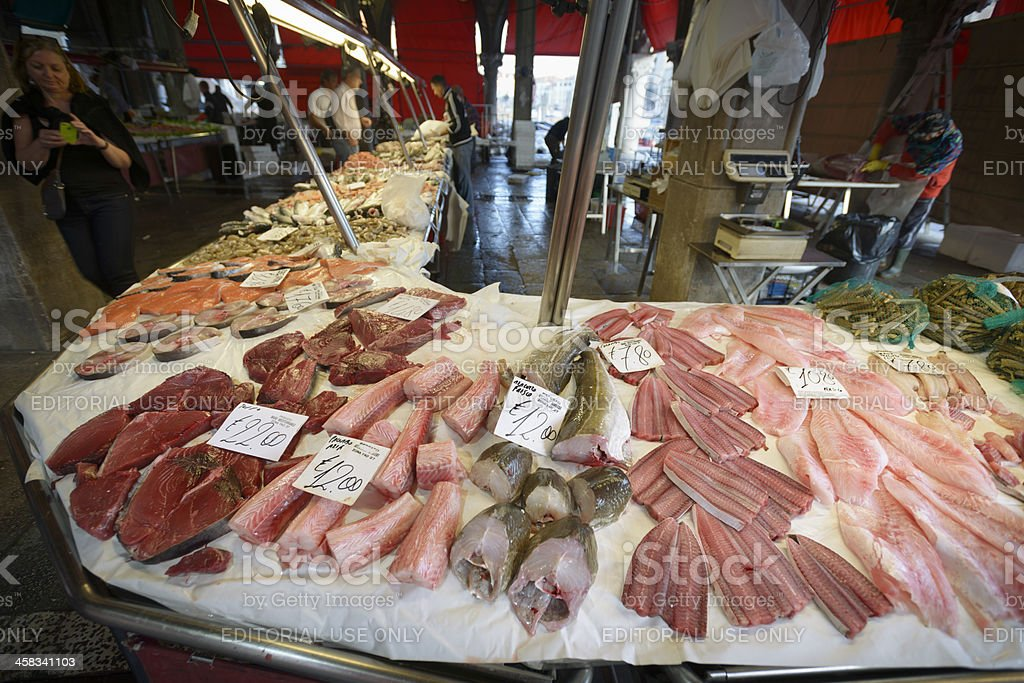 Fish market stall stock photo