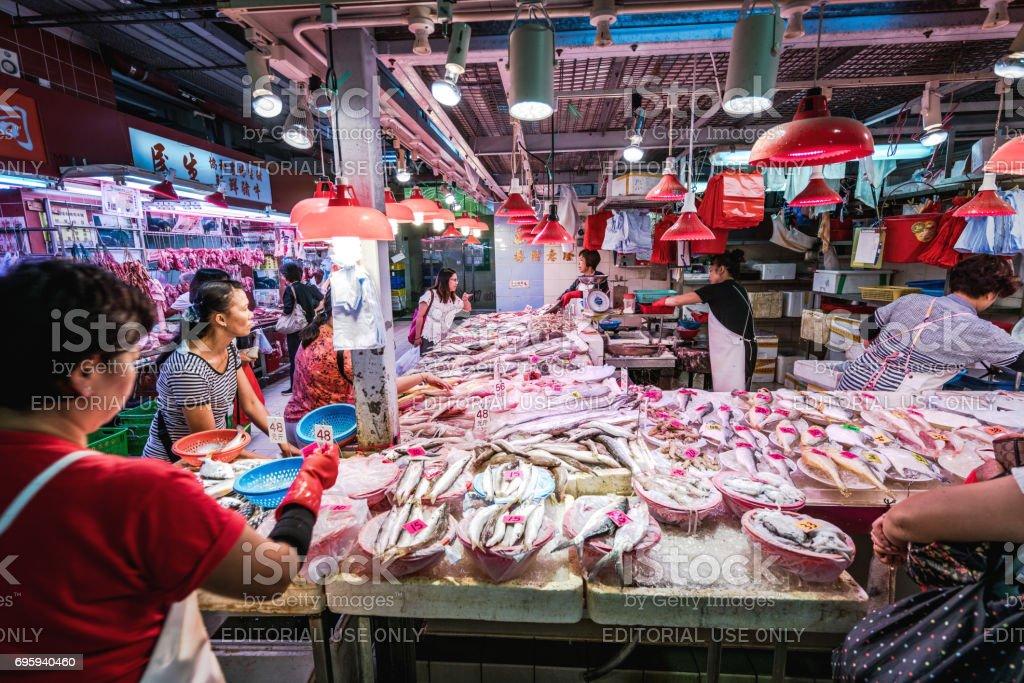 Fish market stalls in Hong Kong, China stock photo