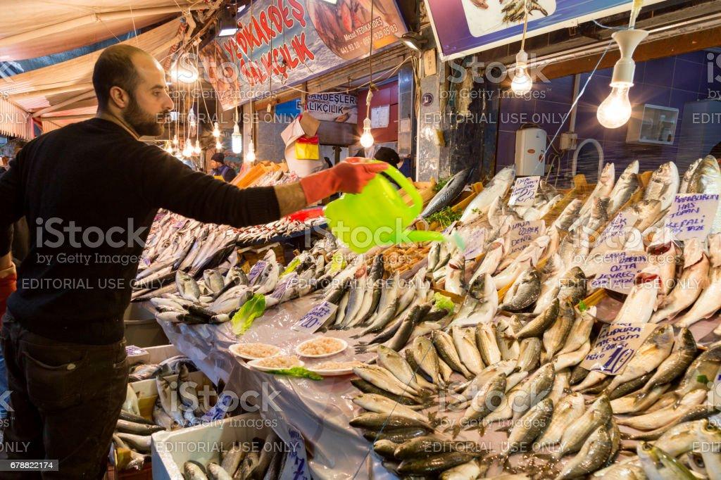 Fish markets on historical Havra Street, Kemeralti, Izmir, Turkey royalty-free stock photo