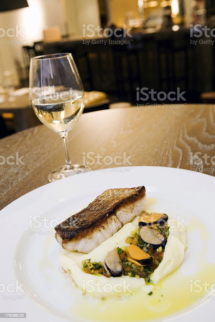 Fish meal at fancy restaurant 2 royalty-free stock photo