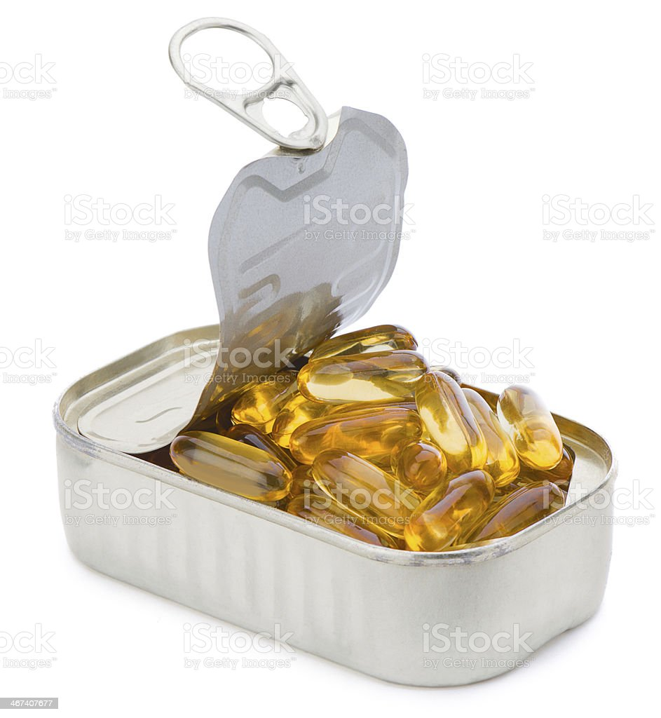 Fish Oil in Can stock photo