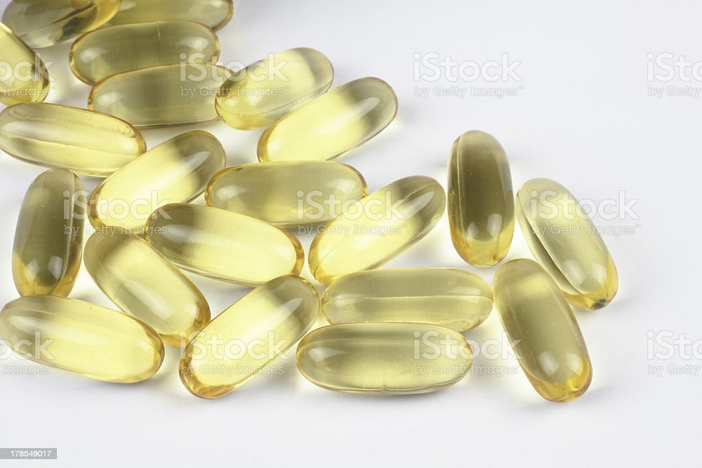 fish oil on the white backgrond royalty-free stock photo