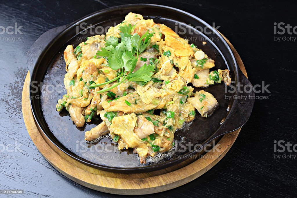 Fish Omelette with Chili Sauce stock photo