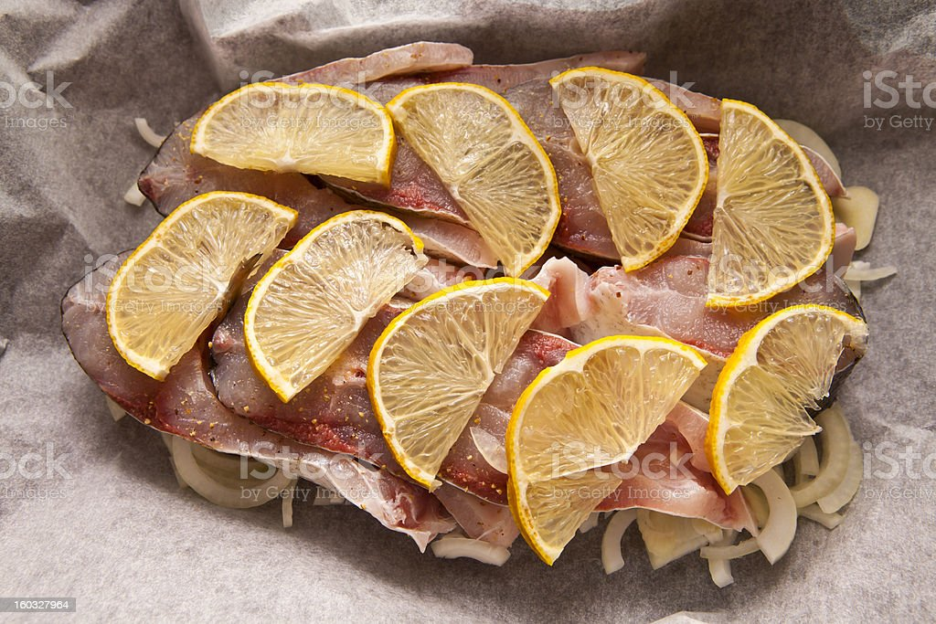 Fish on the parchment royalty-free stock photo