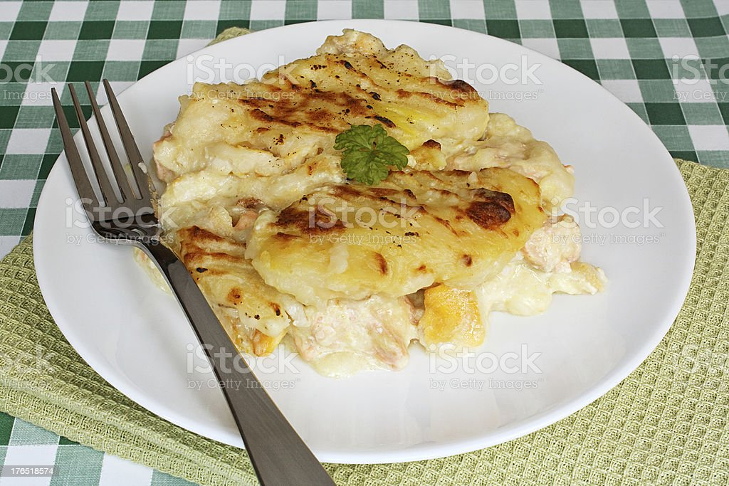 Fish pie on cafe table royalty-free stock photo