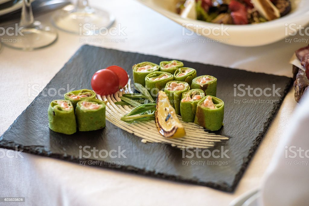 fish platter.  snacks on a white background stock photo
