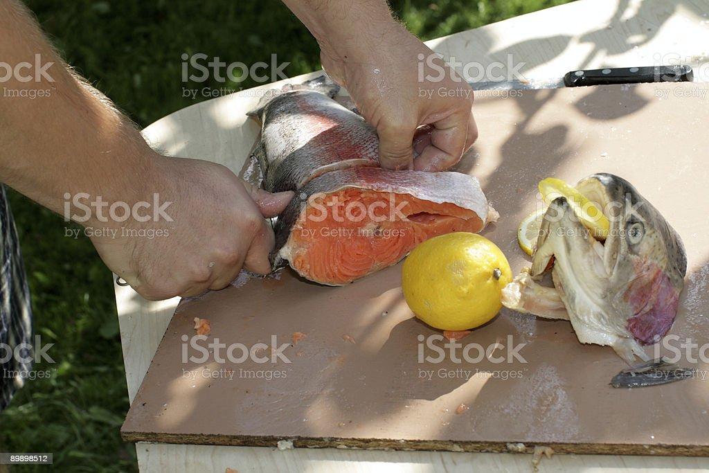 Fish preparation royalty-free stock photo