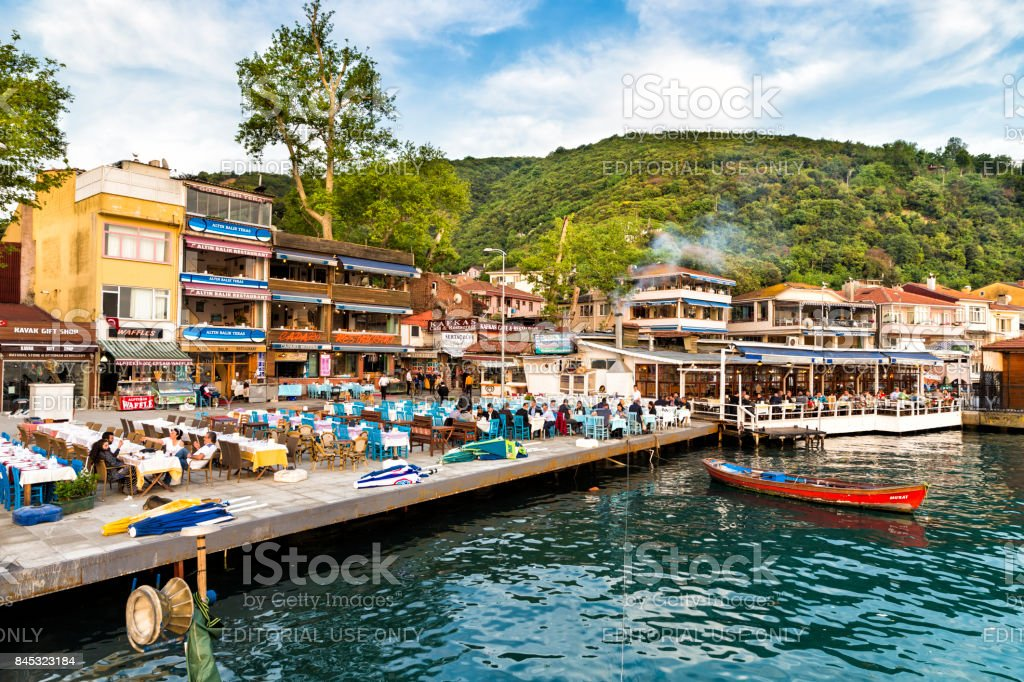 Fish restaurants at Anadolu Kavagi village seaside stock photo