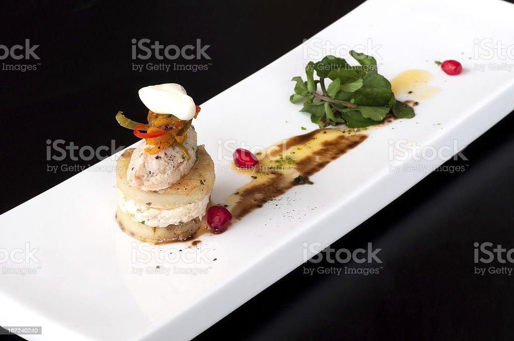 Fish rillettes amuse bouche stock photo