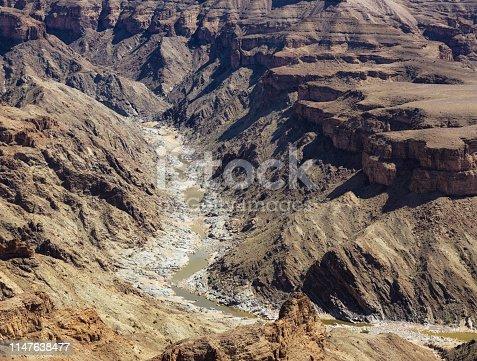 Fish River Canyon Namibia detailed aerial view during dry season