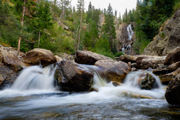 Fish River Falls, Colorado Beautiful set of waterfalls just outside of Steamboat Springs, Colorado. steamboat springs stock pictures, royalty-free photos & images