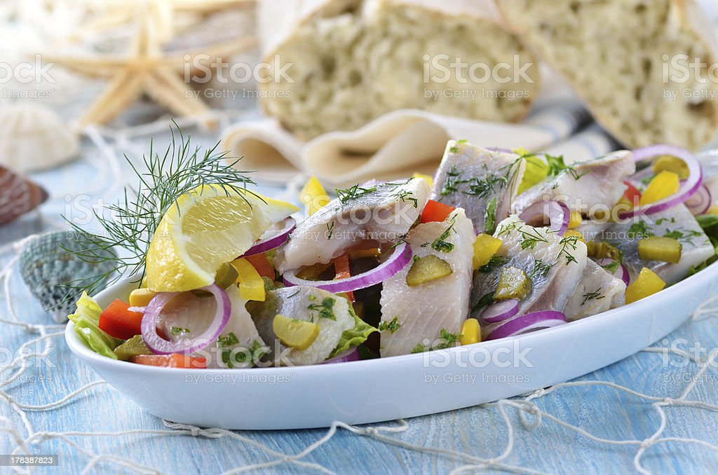 Fish salad stock photo