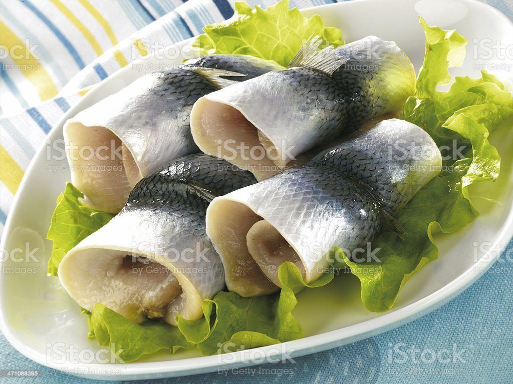 Fish sashimi on fresh lettuce ready to be served stock photo