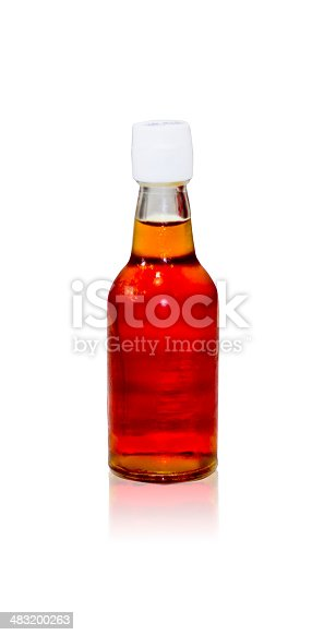 Fish sauce bottle isolated in the white background