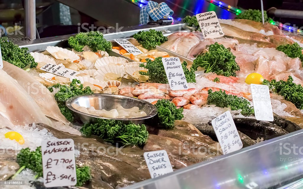 Fish & Seafood Market Stall. Fresh Fish For Sale stock photo