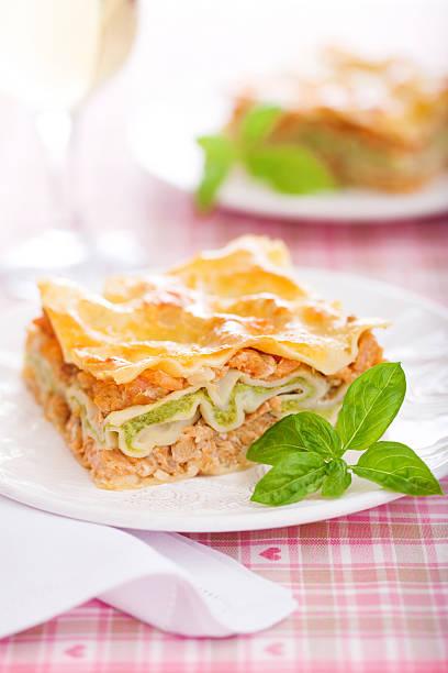 Fish, shrimps and broccoli mousse lasagna stock photo