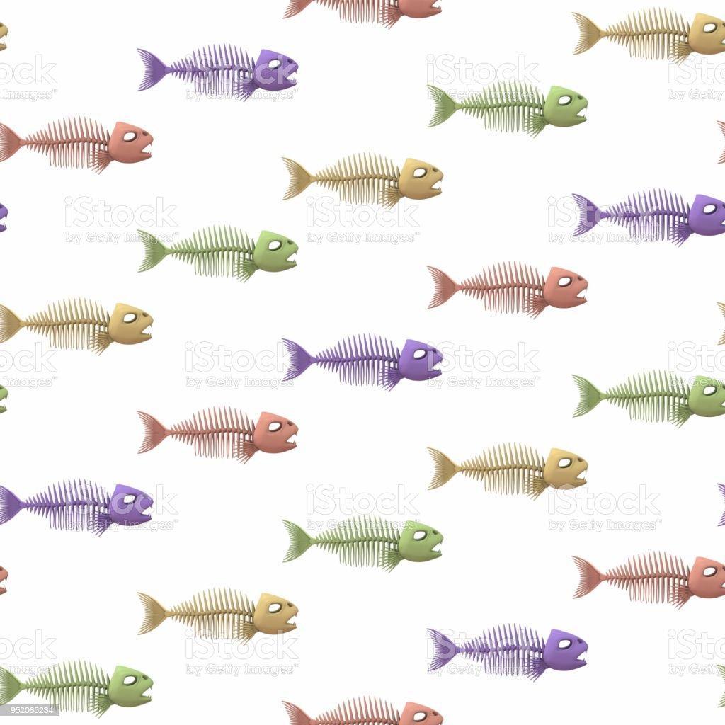 Fischskelettehintergrund Nahtlose Bunte Muster 3drendering Abbildung ...