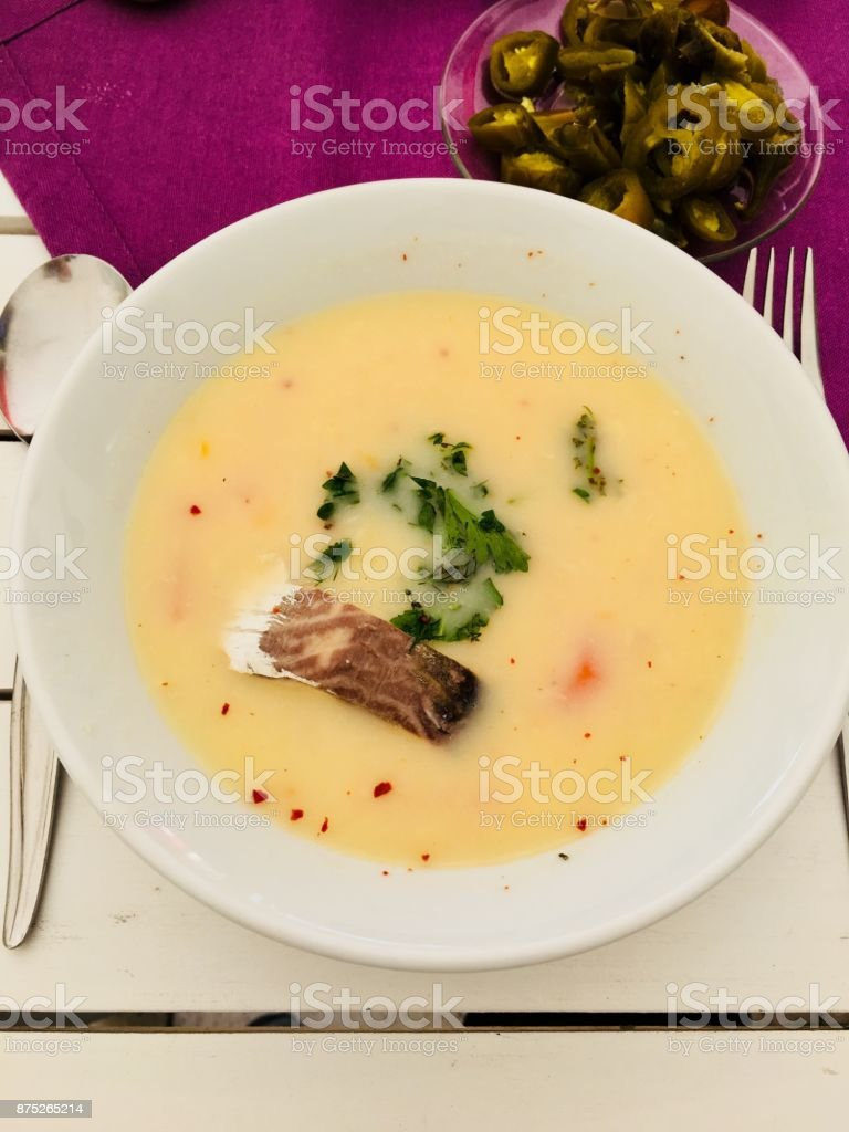 Fish Soup in The Dish stock photo