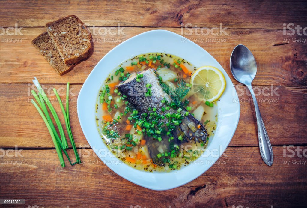 Fish soup with salmon tail - Royalty-free Boiled Stock Photo