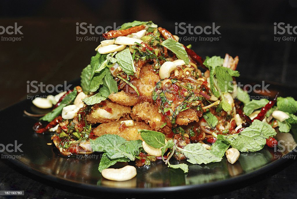 fish spicy salad royalty-free stock photo