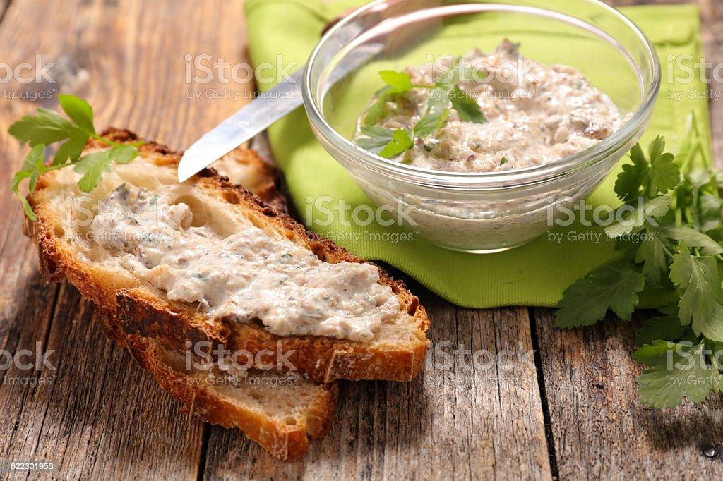 fish spread and bread stock photo