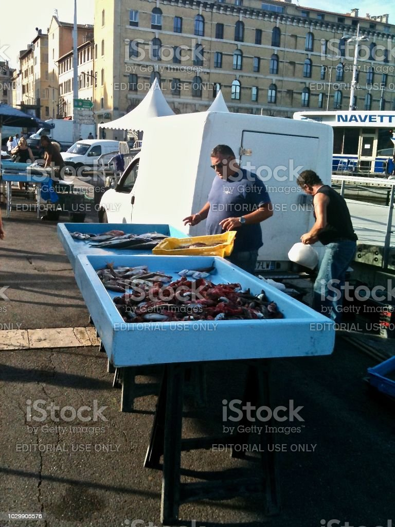A Fish Stall in old Marseille stock photo