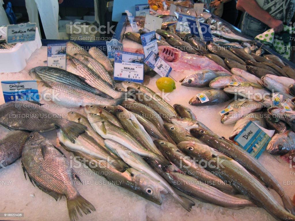 Barraca de peixe no mercado em Charentes Jonzac - foto de acervo
