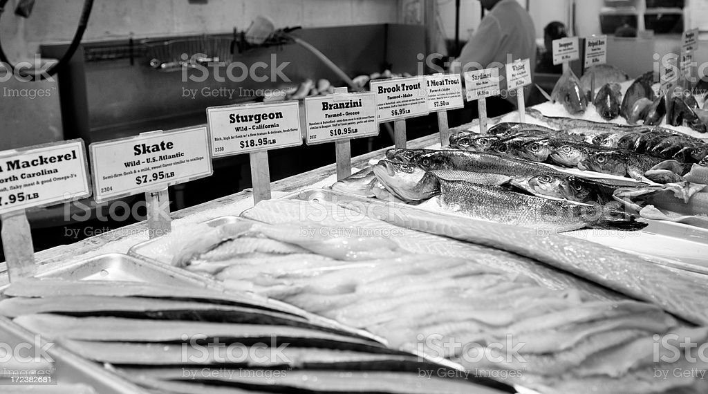Fish Store,NYC.Black And White. royalty-free stock photo