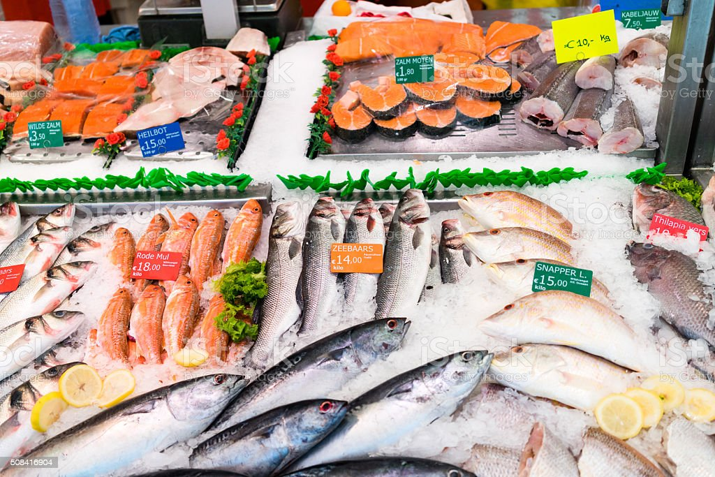 Fish street market stock photo