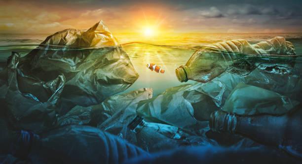 Fische schwimmen zwischen Plastiktüte nmeerverschmutzung. Umweltkonzept – Foto