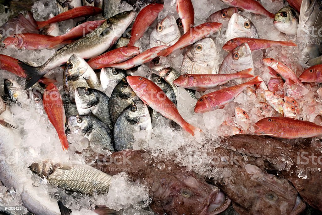 Fish Table of a Mediterranean Restaurant royalty-free stock photo