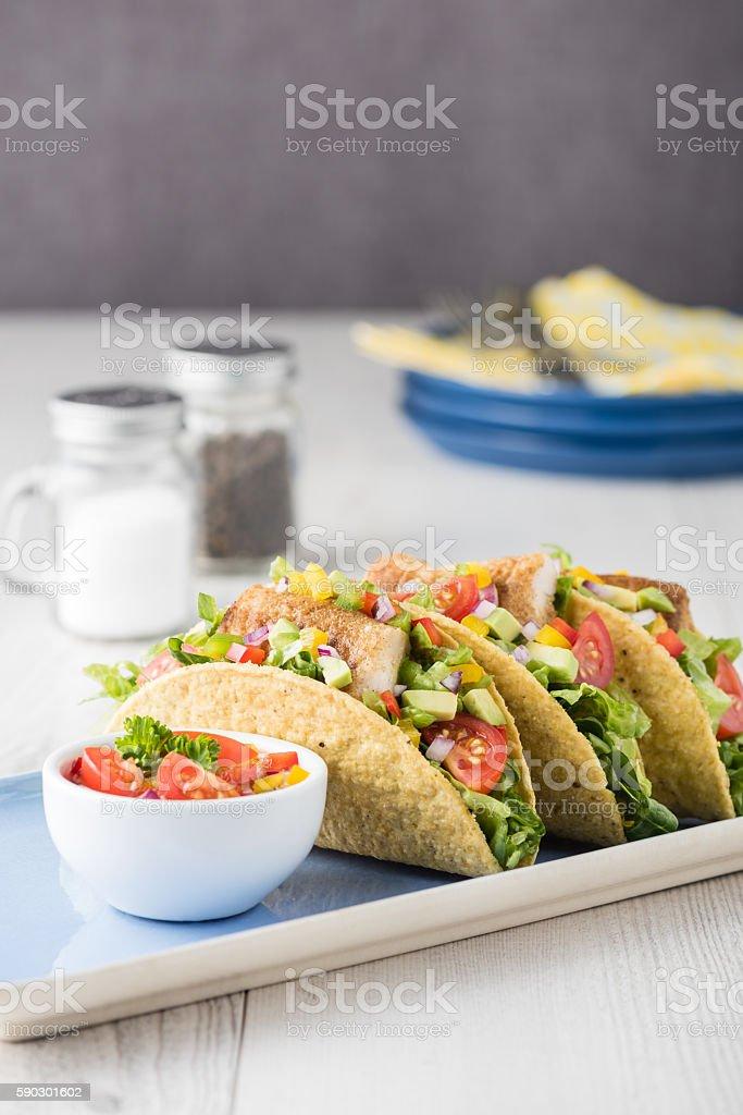 Fish tacos shell with avocado salsa royaltyfri bildbanksbilder
