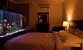 Fish tank aquarium in hotel room