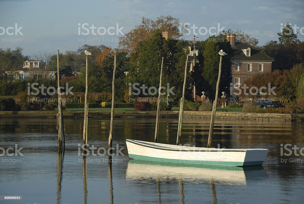 Fish traps and boat, Chestertown, MD stock photo