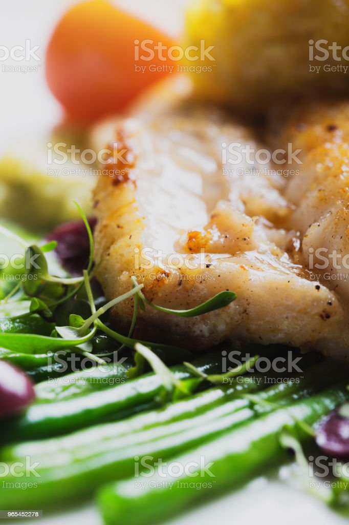 Fish with green beans, tomato and mash royalty-free stock photo