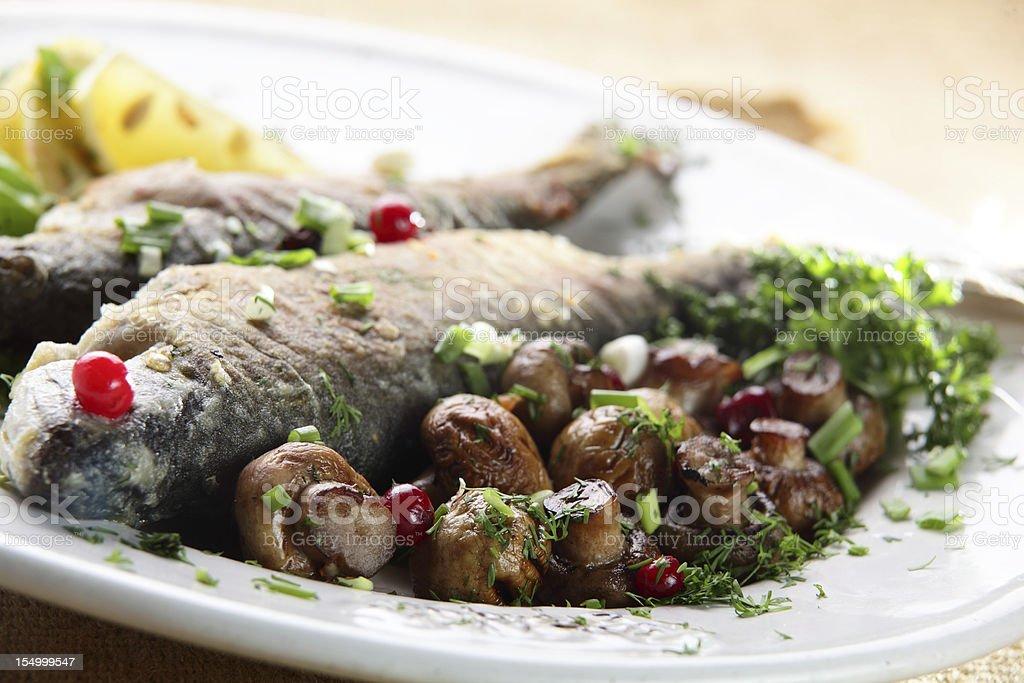 fish with mushrooms royalty-free stock photo