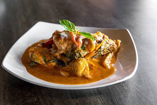 Fish with Red Curry Paste - foto de acervo