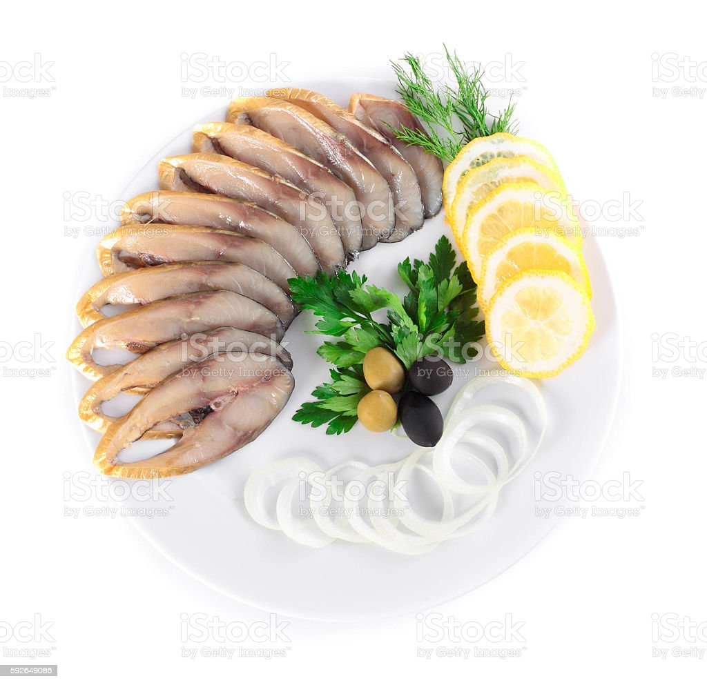 fish with vegetables,anion olives stock photo