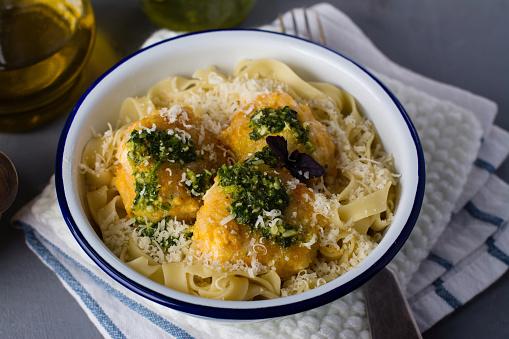 Fishballs and tagliatelle pasta dinner