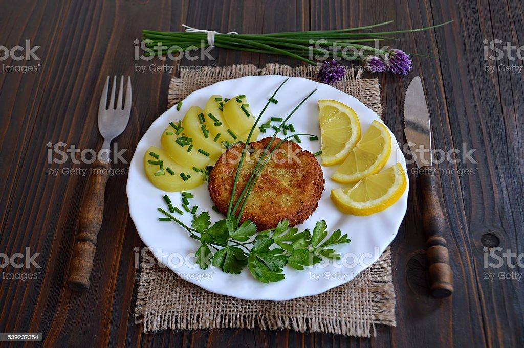 Pastel de pescado y ensalada de patata foto de stock libre de derechos
